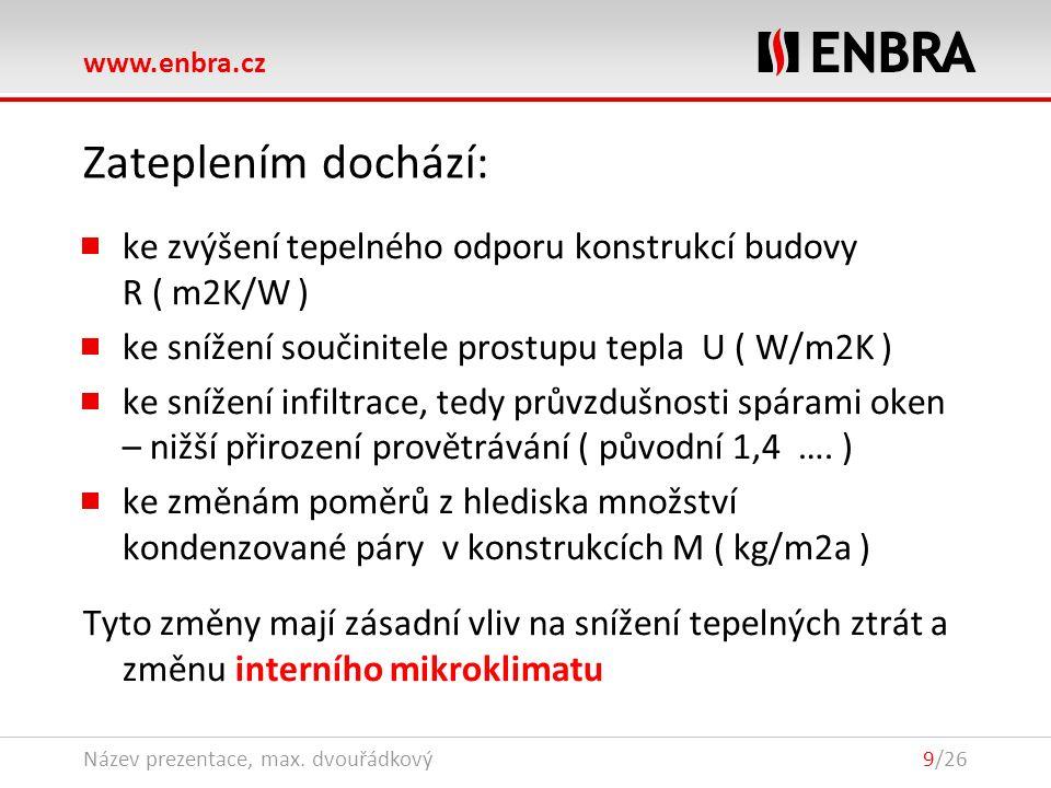 www.enbra.cz 28.9.2016Název prezentace, max. dvouřádkový9/26 Zateplením dochází: ke zvýšení tepelného odporu konstrukcí budovy R ( m2K/W ) ke snížení