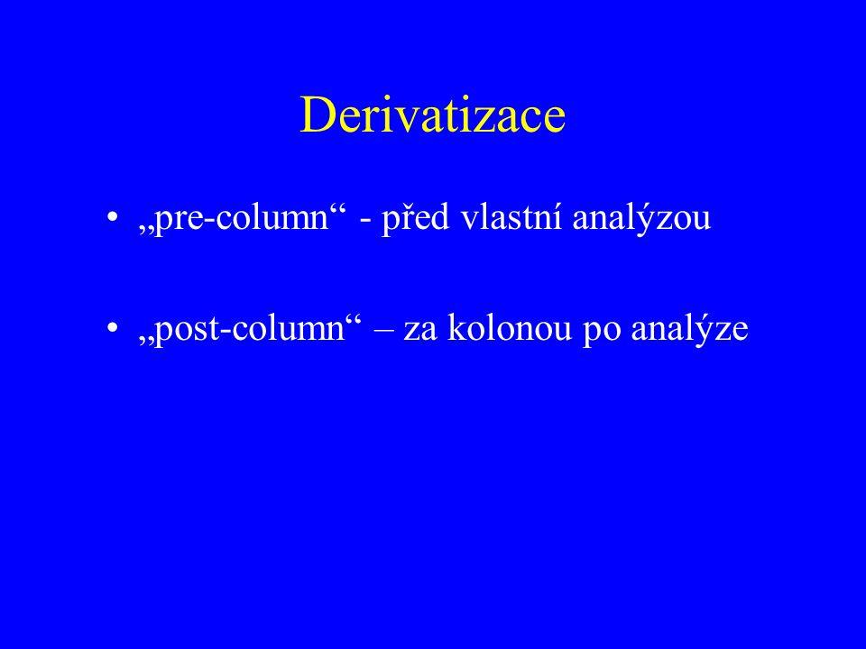 """Derivatizace """"pre-column - před vlastní analýzou """"post-column – za kolonou po analýze"""