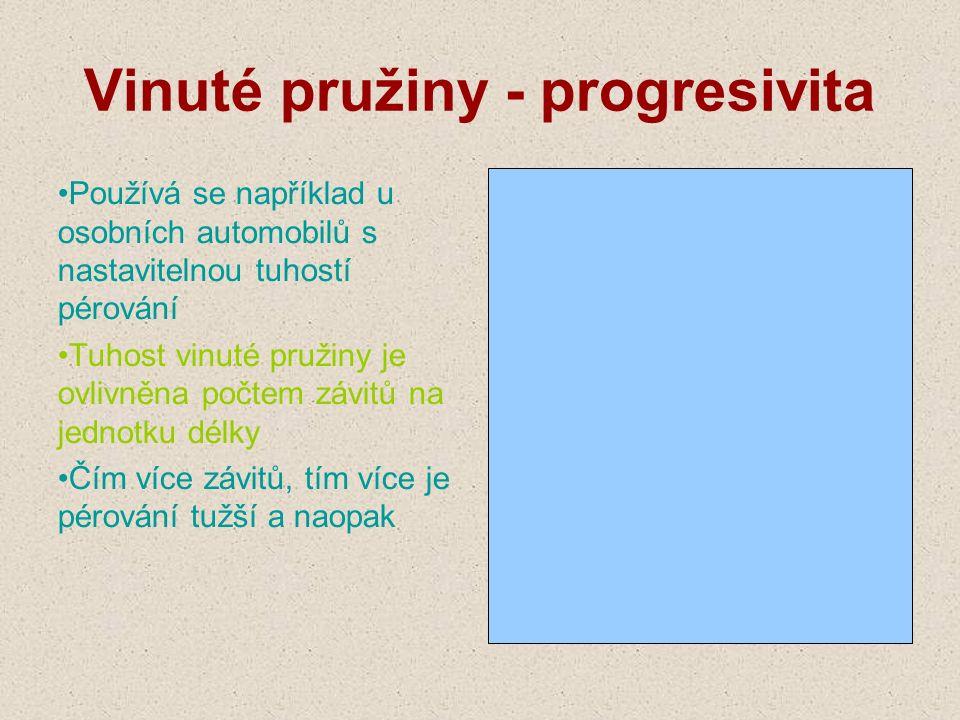 Vinuté pružiny - progresivita Používá se například u osobních automobilů s nastavitelnou tuhostí pérování Tuhost vinuté pružiny je ovlivněna počtem zá