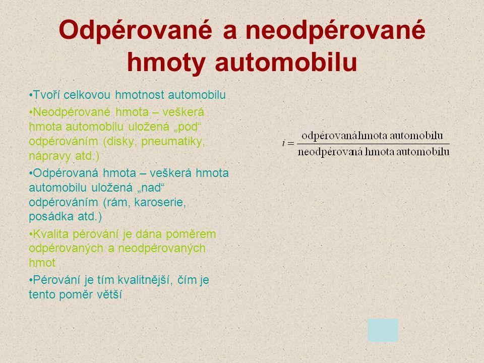 """Odpérované a neodpérované hmoty automobilu Tvoří celkovou hmotnost automobilu Neodpérované hmota – veškerá hmota automobilu uložená """"pod"""" odpérováním"""