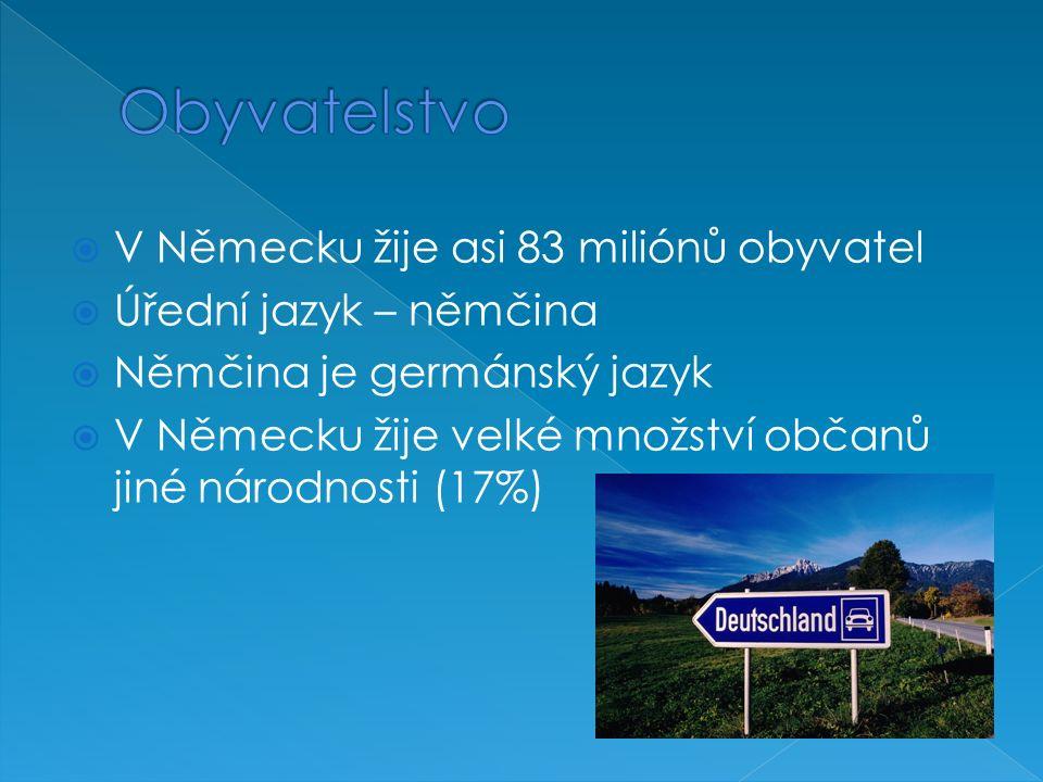 V Německu žije asi 83 miliónů obyvatel  Úřední jazyk – němčina  Němčina je germánský jazyk  V Německu žije velké množství občanů jiné národnosti (17%)