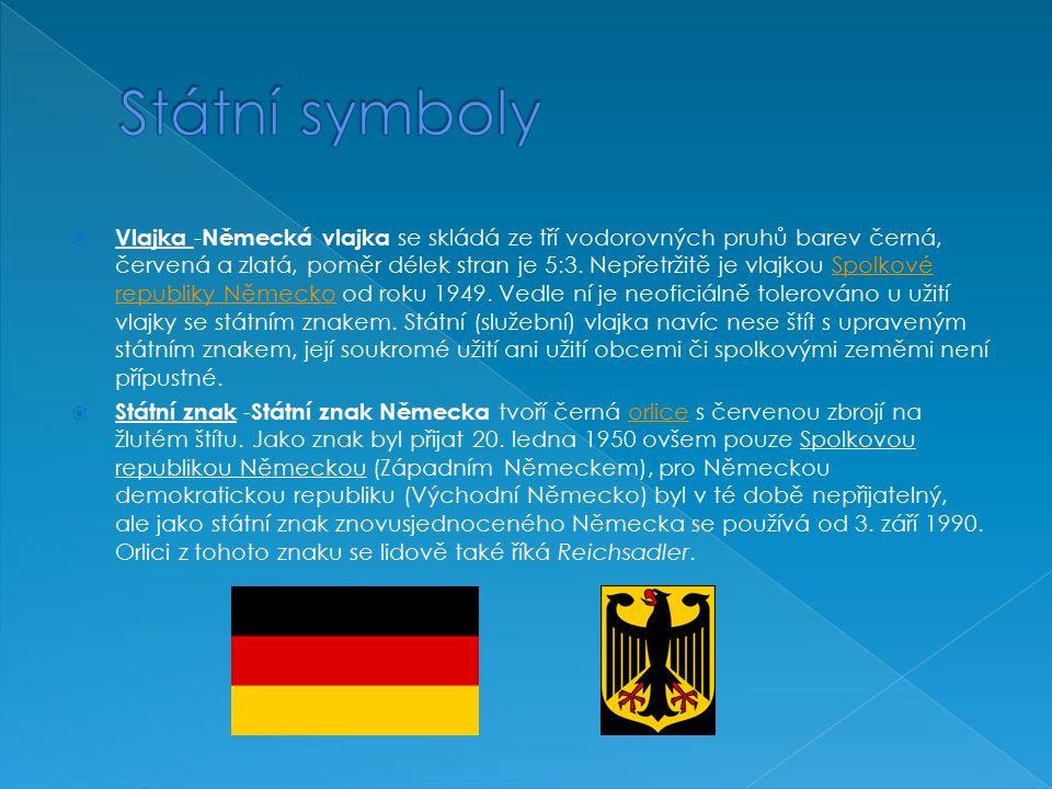  Vlajka - Německá vlajka se skládá ze tří vodorovných pruhů barev černá, červená a zlatá, poměr délek stran je 5:3.