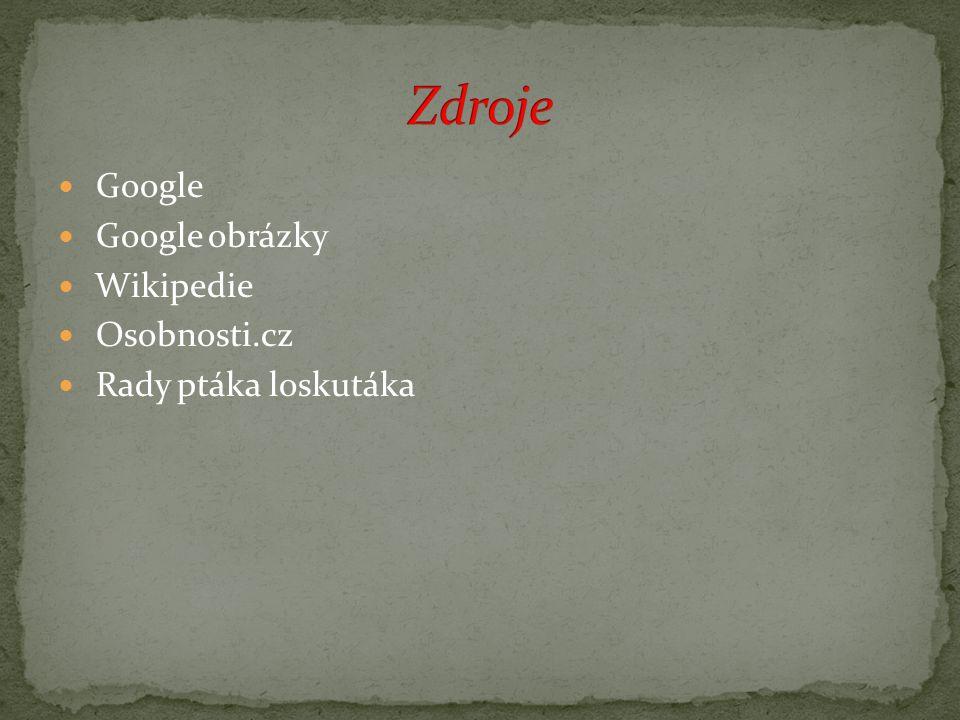 Google Google obrázky Wikipedie Osobnosti.cz Rady ptáka loskutáka