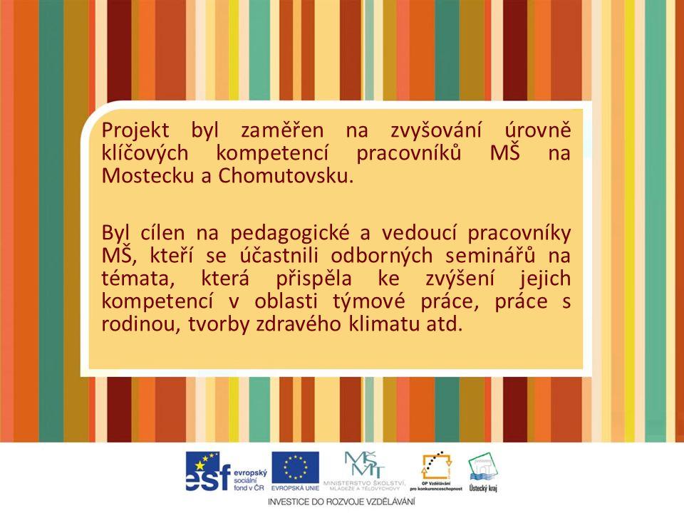 Hlavní cíl projektu Hlavním cílem projektu bylo zvyšování vzdělávacího standardu v mateřských školách na Mostecku a Chomutovsku a profesionalizace celé struktury pracovníků odloučených pracovišť a MŠ, kteří se zapojují do předškolní výchovy, tj.