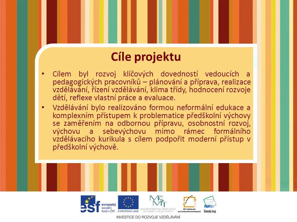 Do projektu se zapojilo více než 40 mateřských škol či odloučených pracovišť Podpořeno bylo více než 230 pedagogických pracovníků Dle českého statistického úřadu toto číslo tvoří téměř 41 % všech pedagogických pracovníků v okrese Most a Chomutov