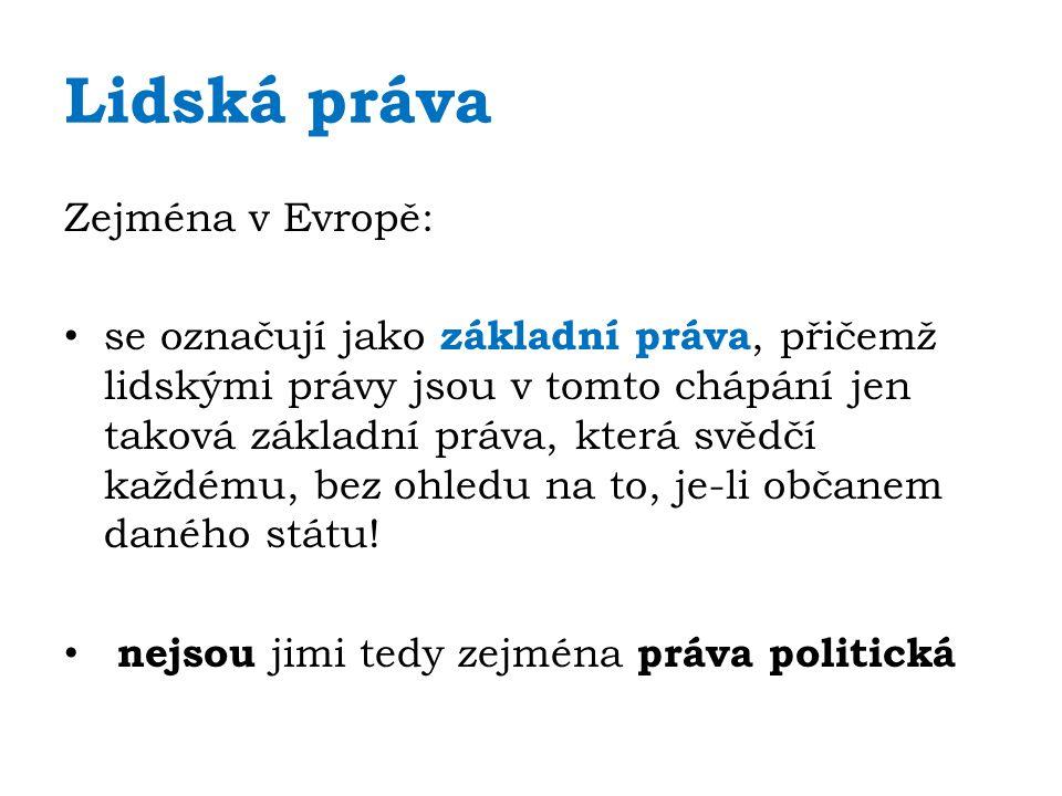 Lidská práva Tato práva jsou garantována jednak samotnou Ústavou a Listinou základních práv a svobod, a jednak řadou mezinárodních závazků České republiky