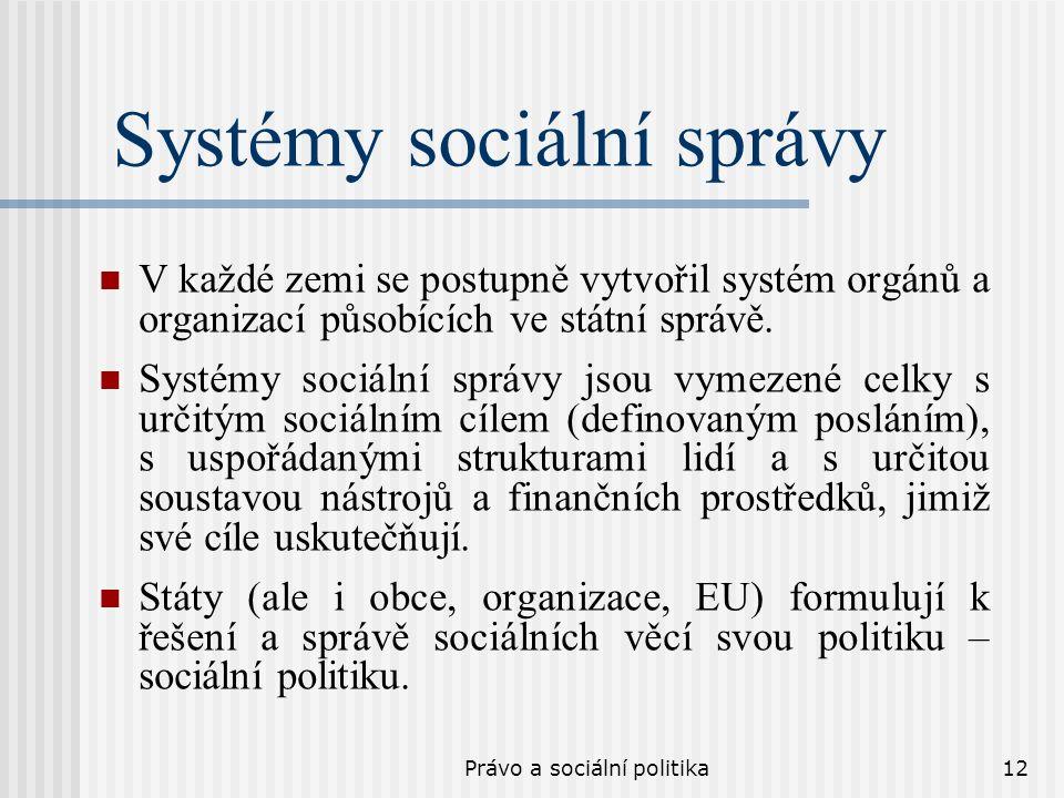 Právo a sociální politika12 Systémy sociální správy V každé zemi se postupně vytvořil systém orgánů a organizací působících ve státní správě. Systémy