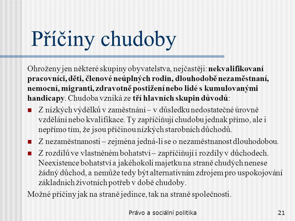 Právo a sociální politika21 Příčiny chudoby Ohroženy jen některé skupiny obyvatelstva, nejčastěji: nekvalifikovaní pracovníci, děti, členové neúplných