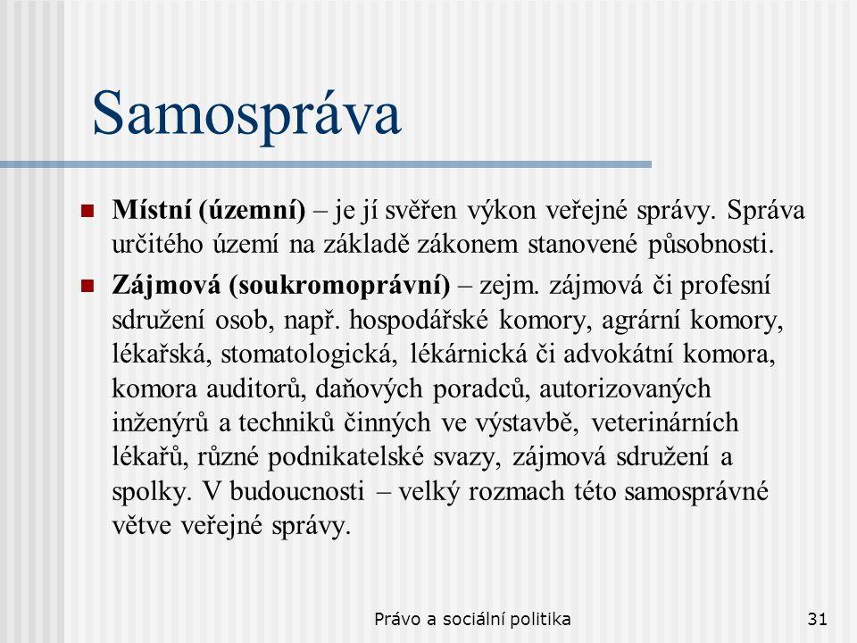 Právo a sociální politika31 Samospráva Místní (územní) – je jí svěřen výkon veřejné správy.