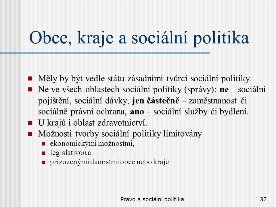 Právo a sociální politika37 Obce, kraje a sociální politika Měly by být vedle státu zásadními tvůrci sociální politiky. Ne ve všech oblastech sociální