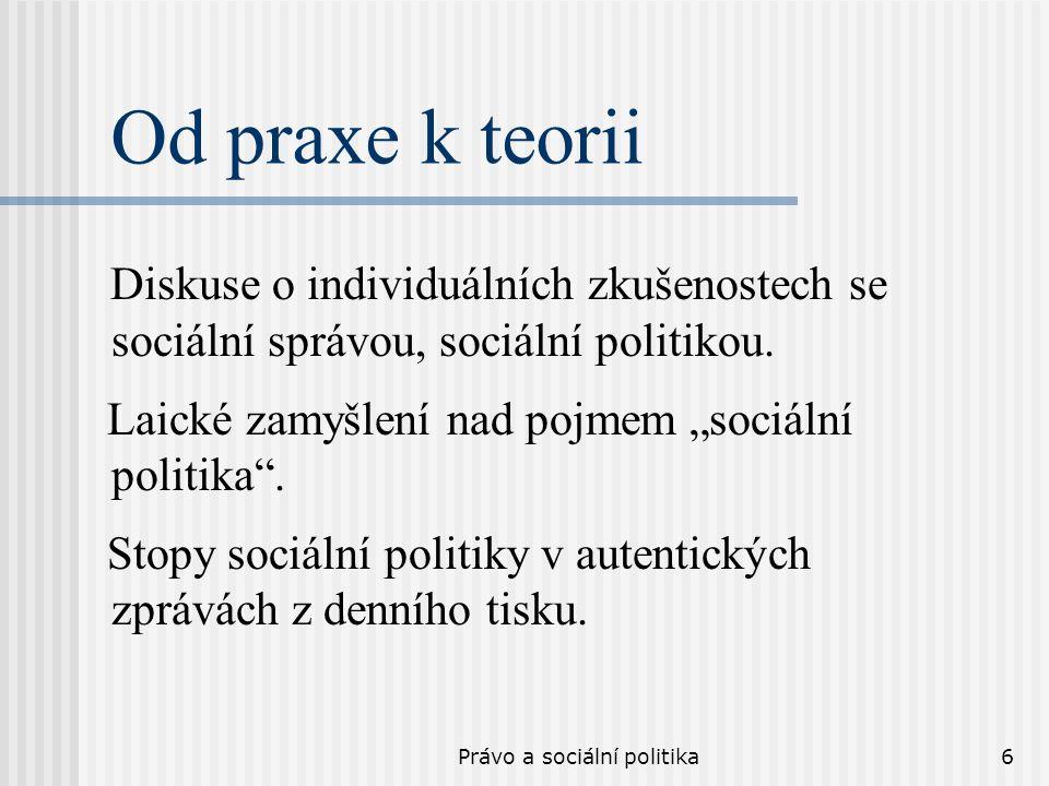 Právo a sociální politika6 Od praxe k teorii Diskuse o individuálních zkušenostech se sociální správou, sociální politikou. Laické zamyšlení nad pojme