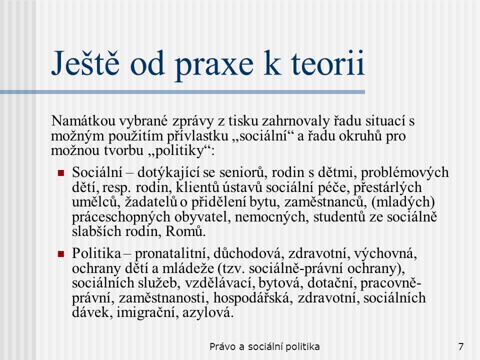 Právo a sociální politika8 A ještě od praxe k teorii Příklad životních situací v níž občan ČR využívá sociální správy, sociální politiky státu: Nemoc – zaměstnanec pobírá nemocenskou.