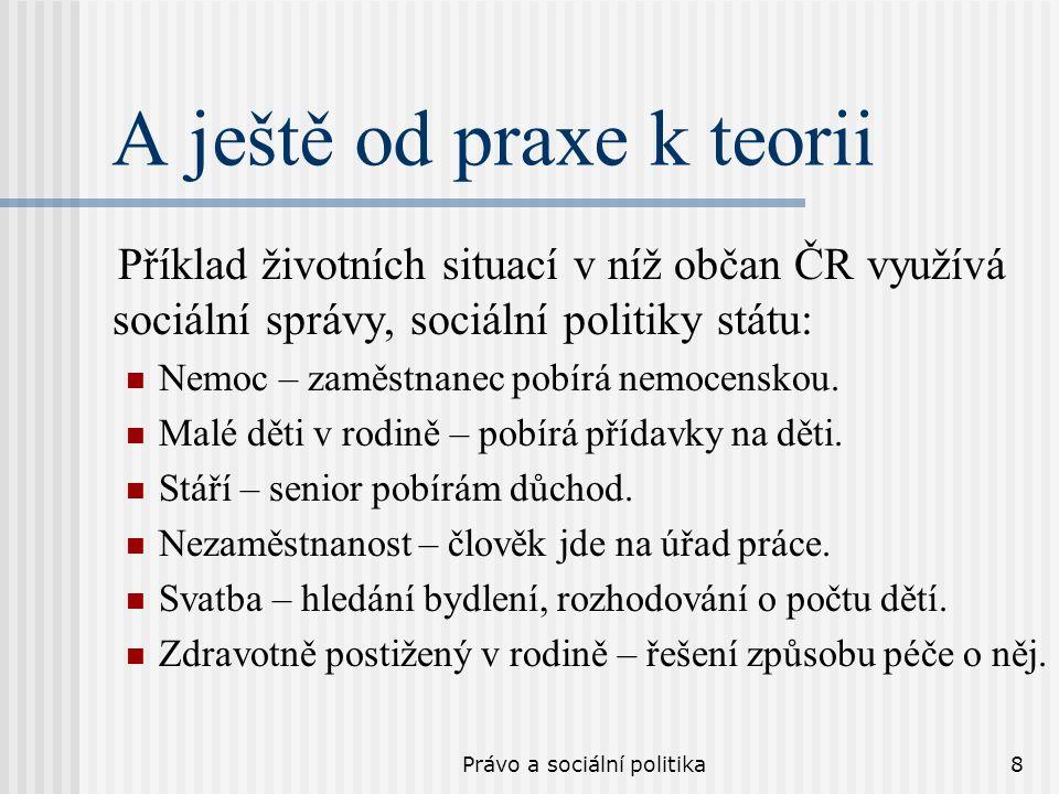 Právo a sociální politika8 A ještě od praxe k teorii Příklad životních situací v níž občan ČR využívá sociální správy, sociální politiky státu: Nemoc