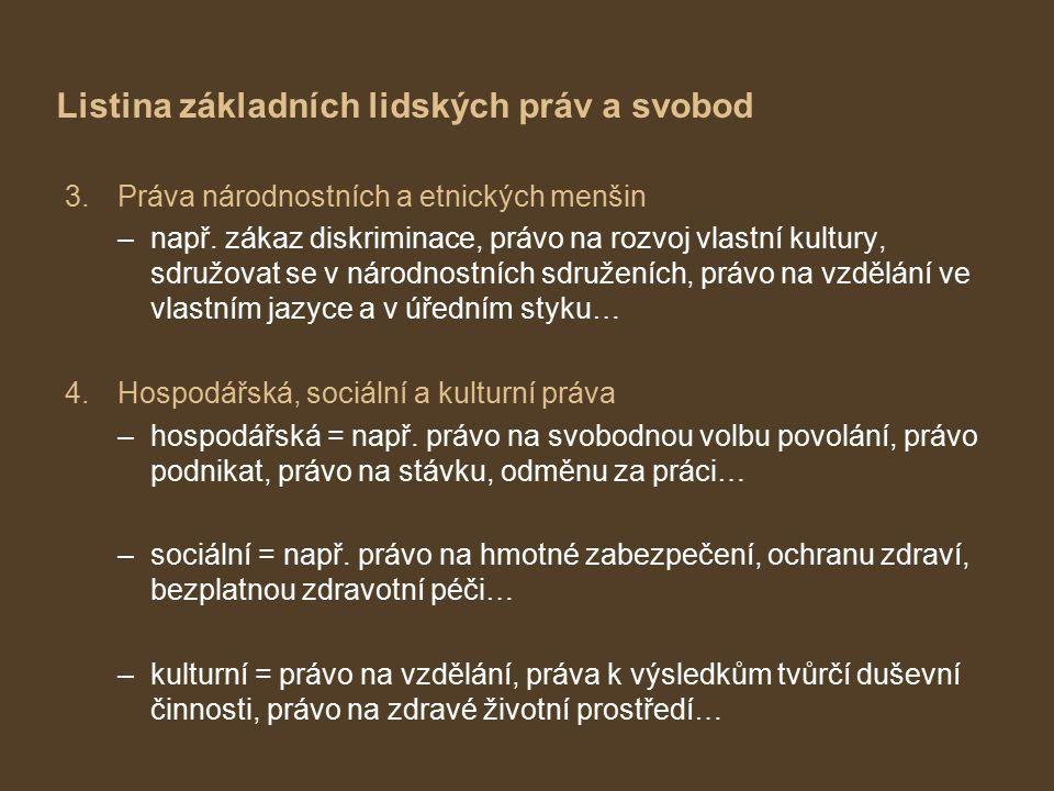 Listina základních lidských práv a svobod 3.Práva národnostních a etnických menšin –např.