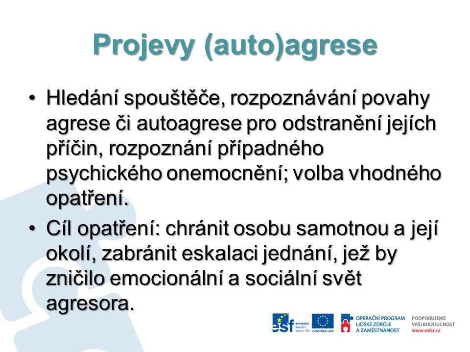 Projevy (auto)agrese Hledání spouštěče, rozpoznávání povahy agrese či autoagrese pro odstranění jejích příčin, rozpoznání případného psychického onemo