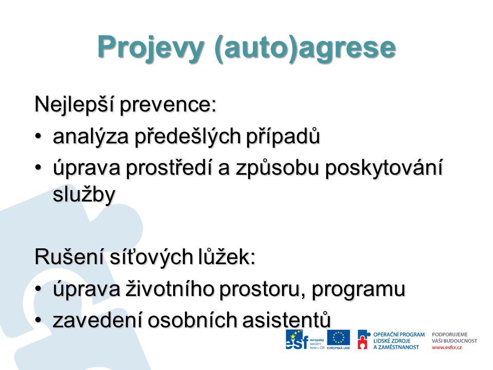 Projevy (auto)agrese Nejlepší prevence: analýza předešlých případůanalýza předešlých případů úprava prostředí a způsobu poskytování službyúprava prost