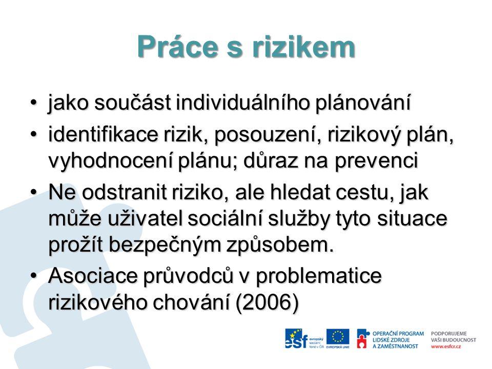 Práce s rizikem jako součást individuálního plánováníjako součást individuálního plánování identifikace rizik, posouzení, rizikový plán, vyhodnocení p