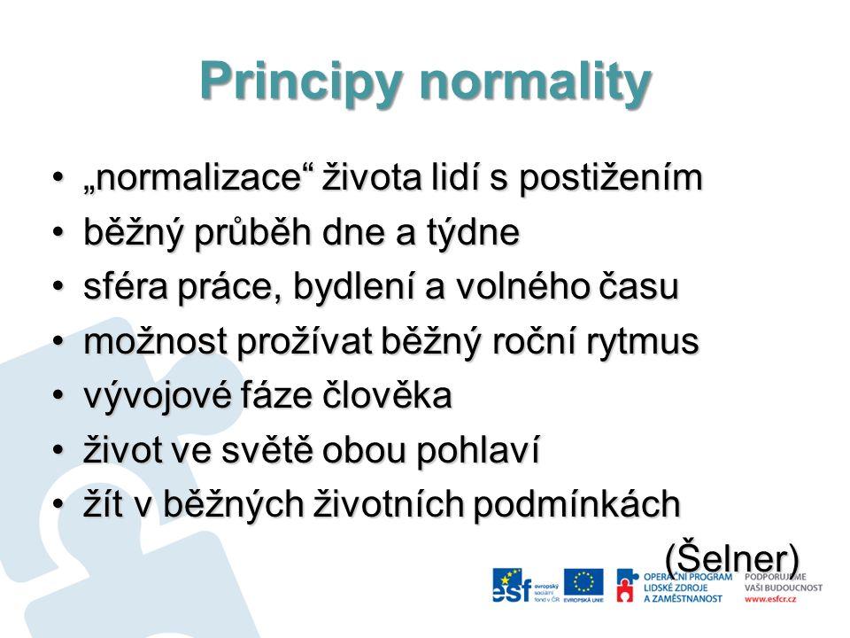"""Principy normality """"normalizace"""" života lidí s postižením""""normalizace"""" života lidí s postižením běžný průběh dne a týdneběžný průběh dne a týdne sféra"""