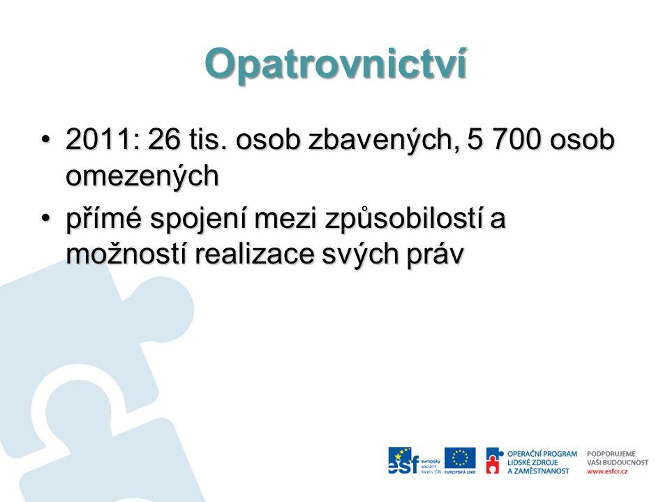 Opatrovnictví 2011: 26 tis. osob zbavených, 5 700 osob omezených2011: 26 tis. osob zbavených, 5 700 osob omezených přímé spojení mezi způsobilostí a m