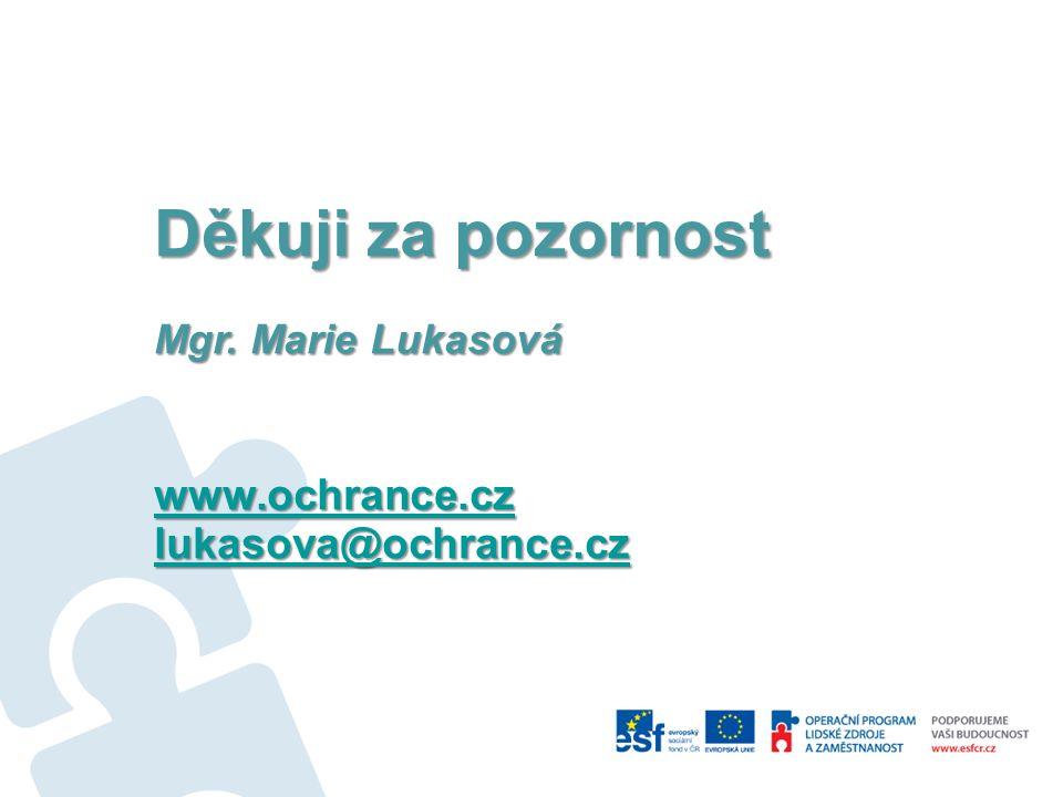 Děkuji za pozornost Mgr. Marie Lukasová www.ochrance.cz lukasova@ochrance.cz