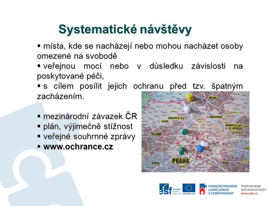 Systematické návštěvy V oblasti sociální…  5 zařízení pro dospělé s fyzickým postižením (2006)  51 zařízení sociálních služeb pro seniory (2007-08)  8 psychiatrických léčeben, tj.