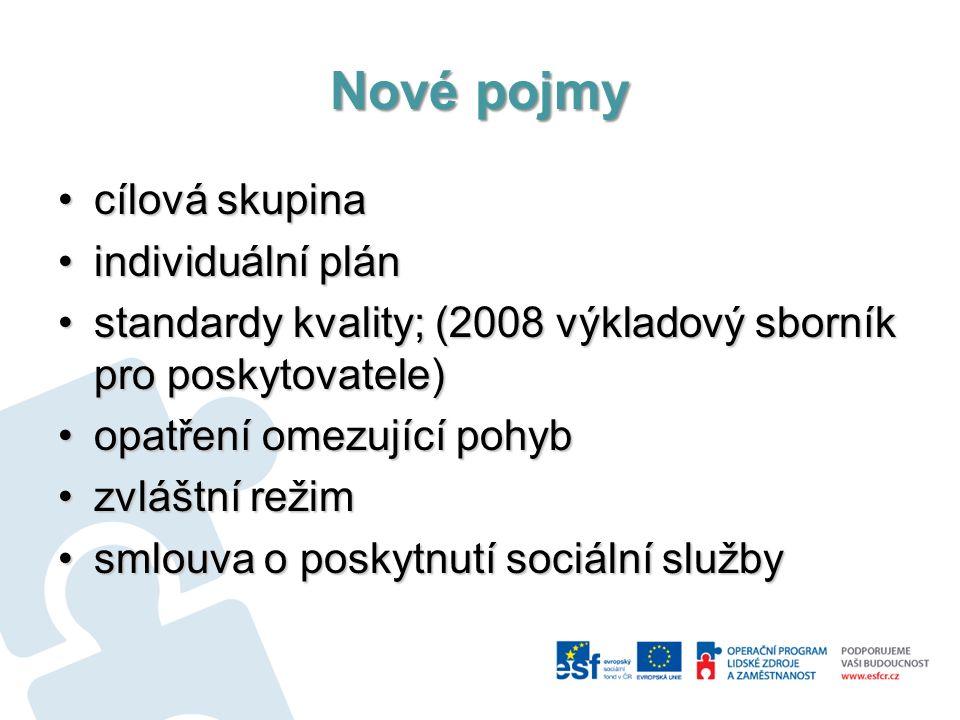 Nové pojmy cílová skupinacílová skupina individuální plánindividuální plán standardy kvality; (2008 výkladový sborník pro poskytovatele)standardy kval