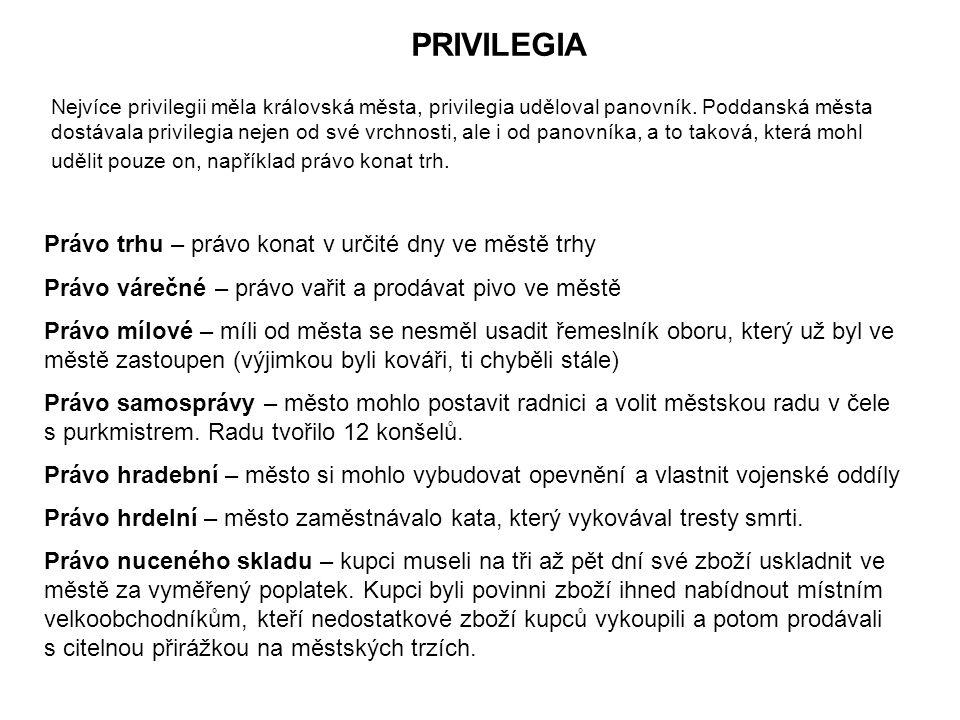 PRIVILEGIA Nejvíce privilegii měla královská města, privilegia uděloval panovník.