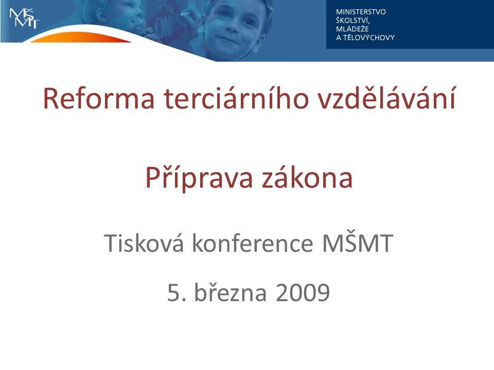 Reforma terciárního vzdělávání Příprava zákona Tisková konference MŠMT 5. března 2009