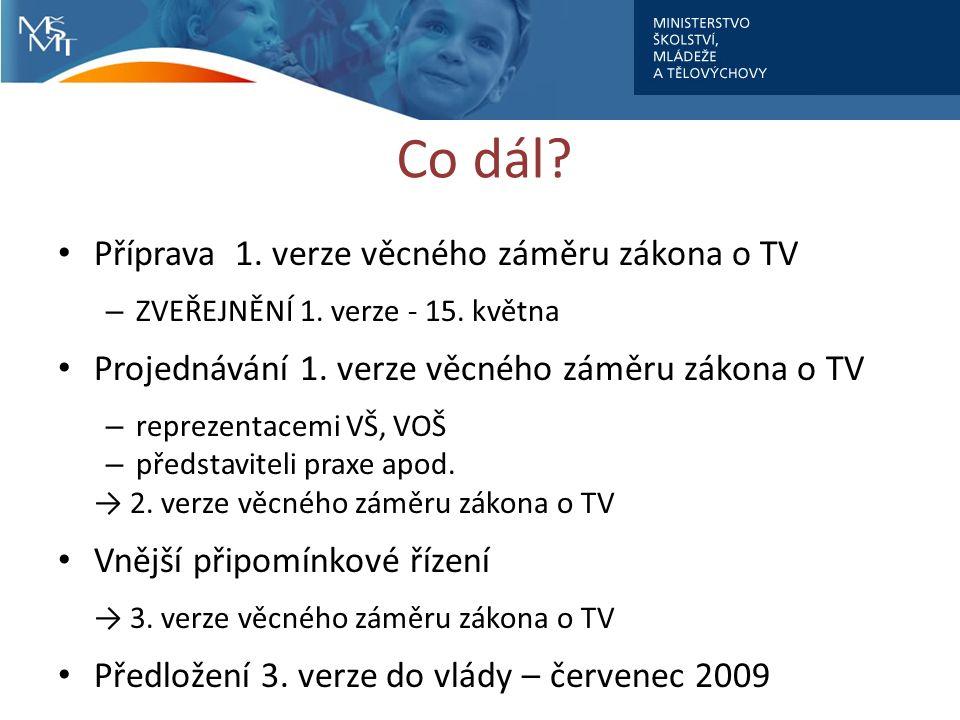 Co dál. Příprava 1. verze věcného záměru zákona o TV – ZVEŘEJNĚNÍ 1.