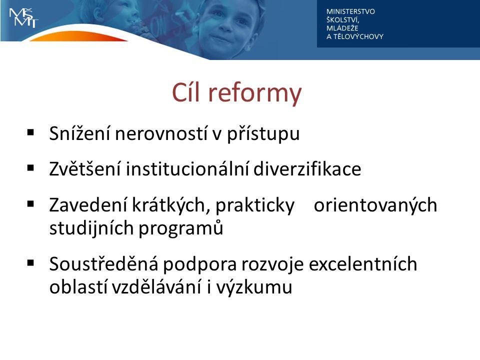 Cíl reformy  Snížení nerovností v přístupu  Zvětšení institucionální diverzifikace  Zavedení krátkých, prakticky orientovaných studijních programů  Soustředěná podpora rozvoje excelentních oblastí vzdělávání i výzkumu