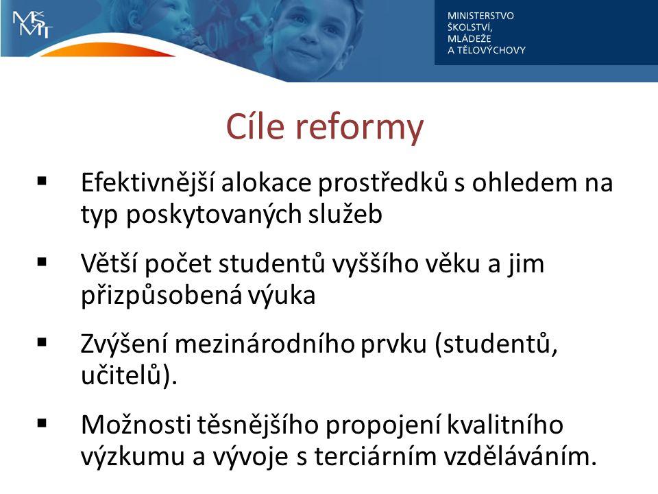 Cíle reformy  Efektivnější alokace prostředků s ohledem na typ poskytovaných služeb  Větší počet studentů vyššího věku a jim přizpůsobená výuka  Zvýšení mezinárodního prvku (studentů, učitelů).