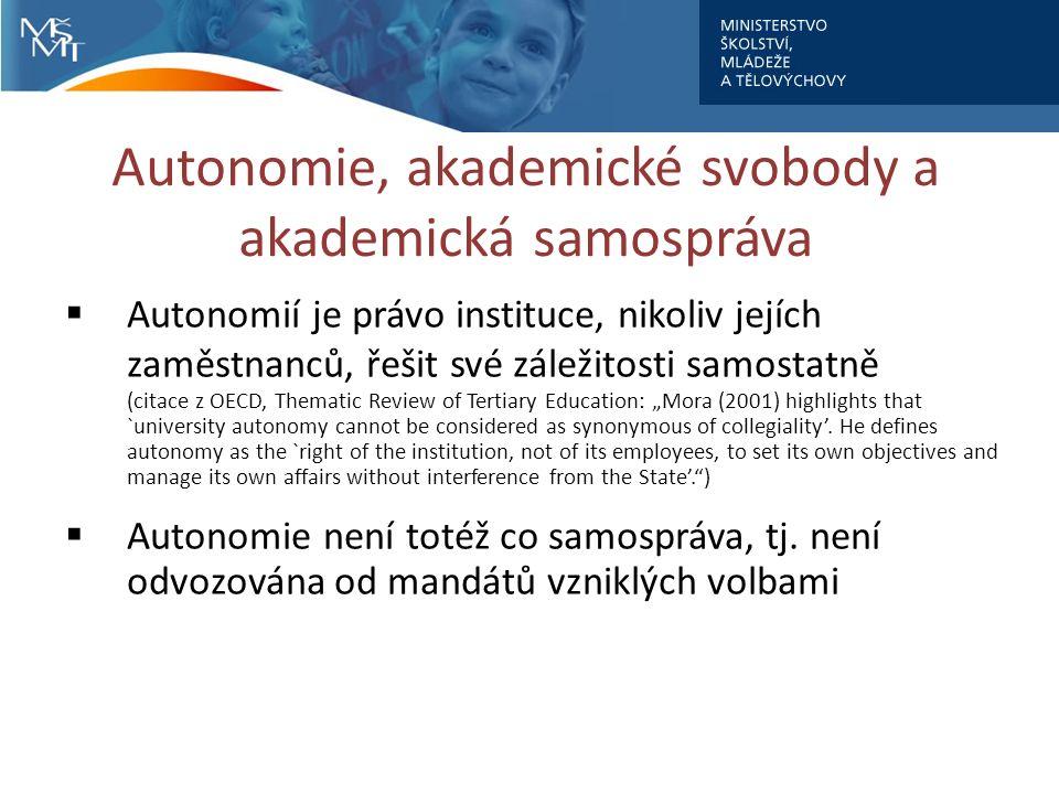 """Autonomie, akademické svobody a akademická samospráva  Autonomií je právo instituce, nikoliv jejích zaměstnanců, řešit své záležitosti samostatně (citace z OECD, Thematic Review of Tertiary Education: """"Mora (2001) highlights that `university autonomy cannot be considered as synonymous of collegiality'."""