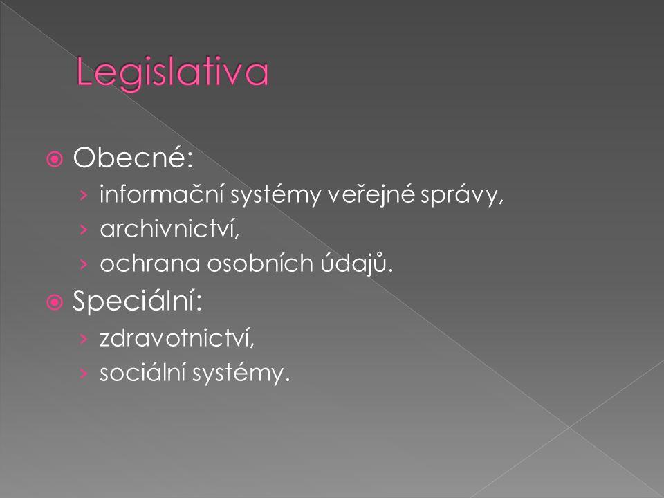  Obecné: › informační systémy veřejné správy, › archivnictví, › ochrana osobních údajů.