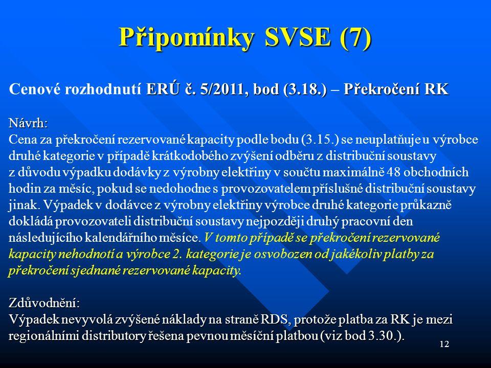 12 Připomínky SVSE (7) ERÚ č. 5/2011, bod (3.18.)Překročení RK Cenové rozhodnutí ERÚ č. 5/2011, bod (3.18.) – Překročení RKNávrh: Cena za překročení r