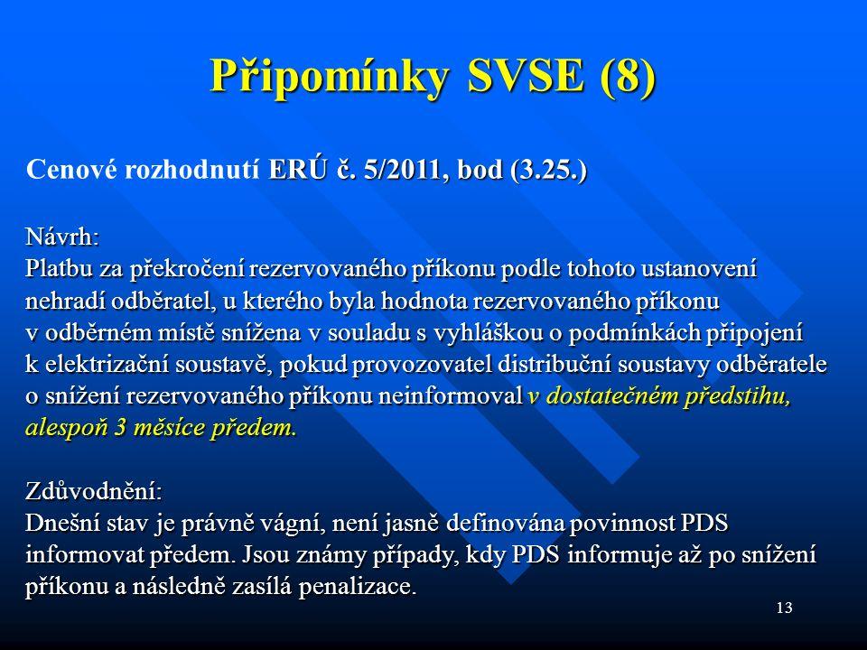 13 Připomínky SVSE (8) ERÚ č. 5/2011, bod (3.25.) Cenové rozhodnutí ERÚ č. 5/2011, bod (3.25.)Návrh: Platbu za překročení rezervovaného příkonu podle