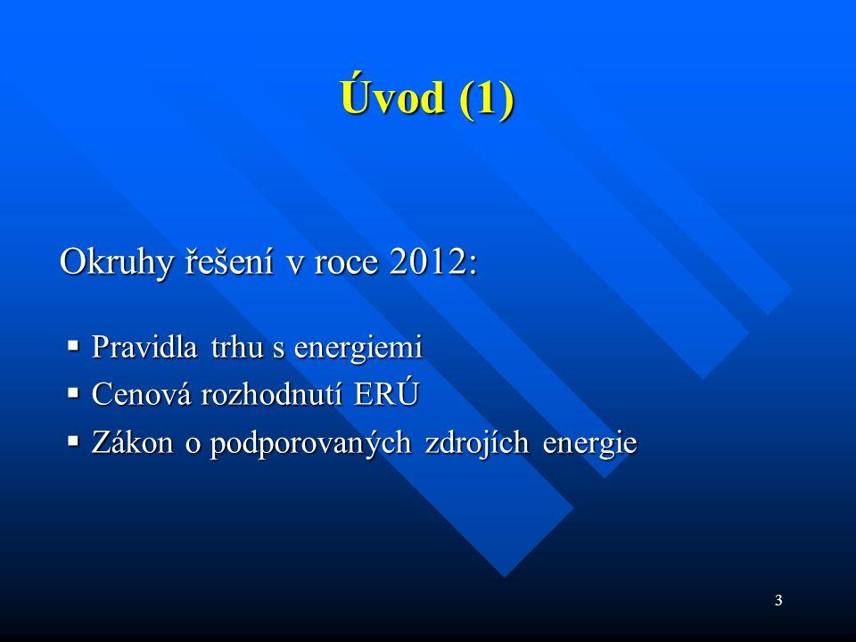 3 Okruhy řešení v roce 2012: Okruhy řešení v roce 2012:  Pravidla trhu s energiemi  Cenová rozhodnutí ERÚ  Zákon o podporovaných zdrojích energie Úvod (1)