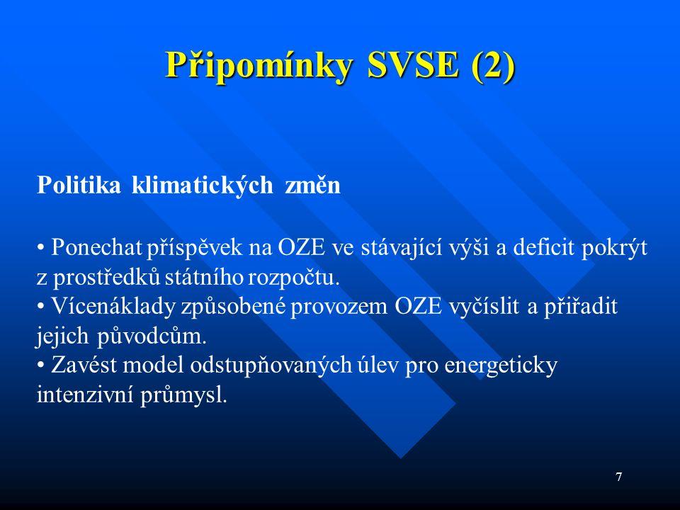 7 Připomínky SVSE (2) Politika klimatických změn Ponechat příspěvek na OZE ve stávající výši a deficit pokrýt z prostředků státního rozpočtu. Vícenákl