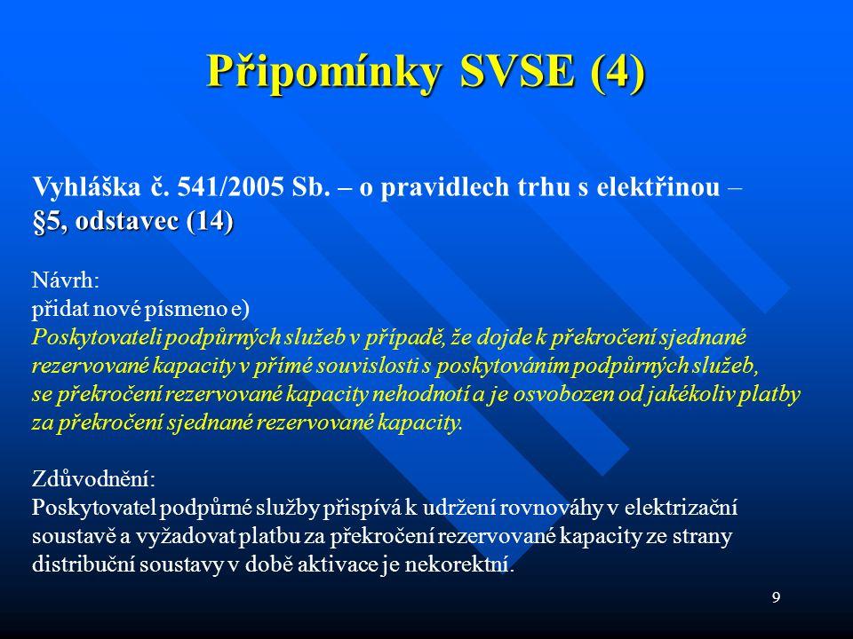 9 Připomínky SVSE (4) Vyhláška č. 541/2005 Sb. – o pravidlech trhu s elektřinou – §5, odstavec (14) Návrh: přidat nové písmeno e) Poskytovateli podpůr