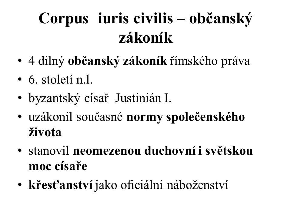 Corpus iuris civilis – občanský zákoník 4 dílný občanský zákoník římského práva 6.