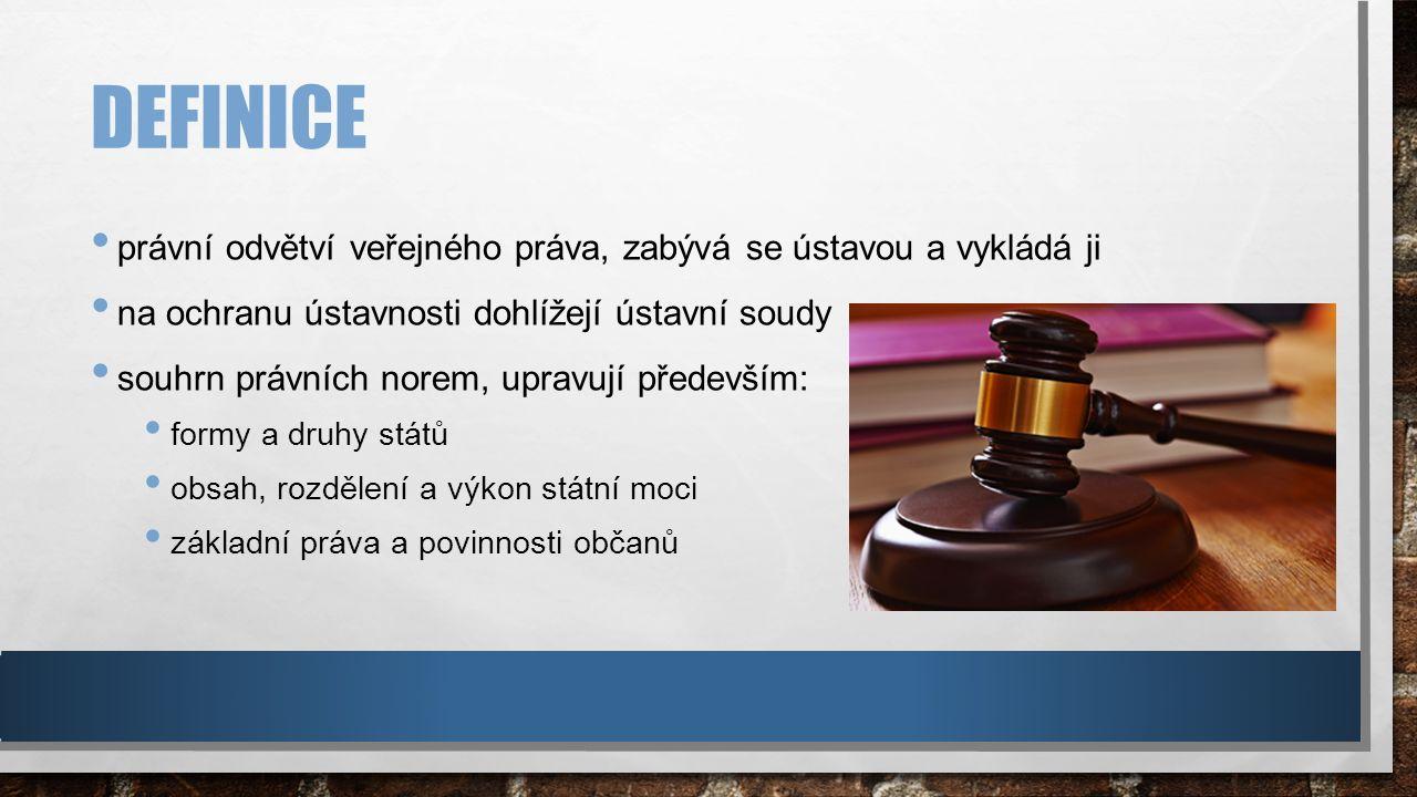 DEFINICE právní odvětví veřejného práva, zabývá se ústavou a vykládá ji na ochranu ústavnosti dohlížejí ústavní soudy souhrn právních norem, upravují především: formy a druhy států obsah, rozdělení a výkon státní moci základní práva a povinnosti občanů