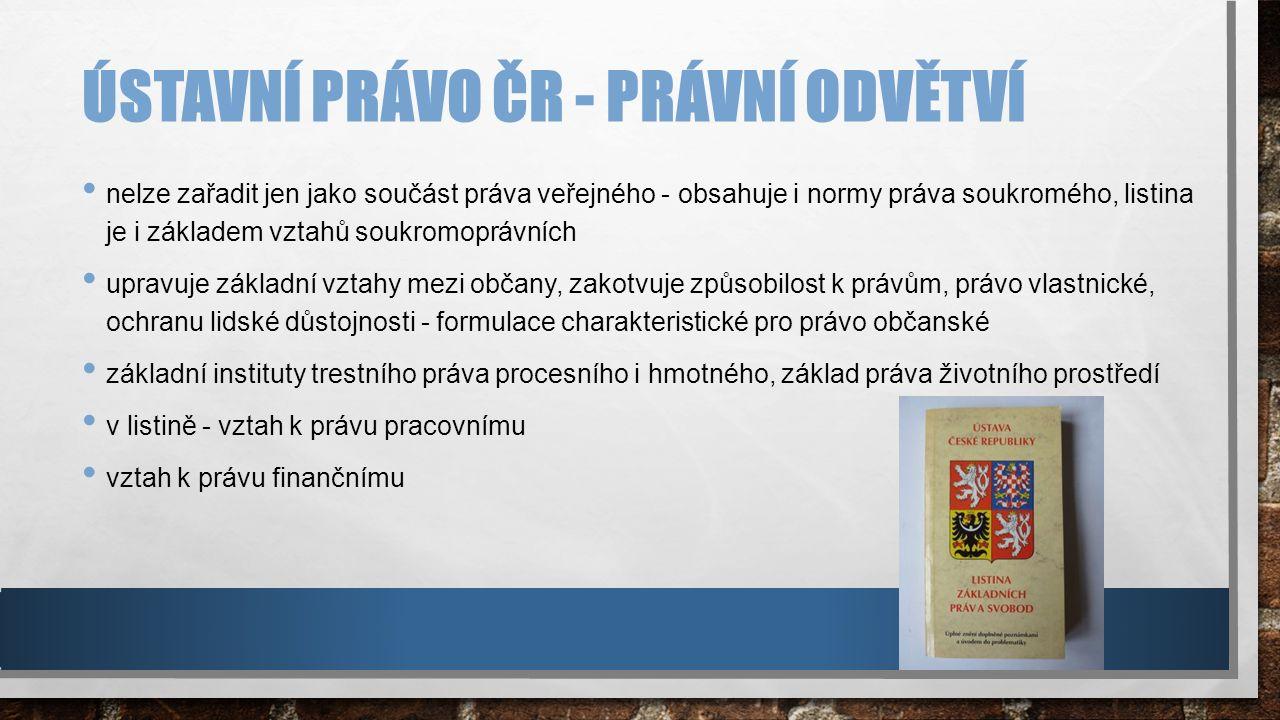 ÚSTAVNÍ SOUD soudním orgánem ochrany ústavnosti postavení a kompetence - v ústavě České republiky sídlem - Brno není součástí soustavy obecných soudů ÚKOLEM chránit ústavnost, základní práva, svobody vyplývající z ústavy, listiny základních práv a svobod garantovat ústavní charakter výkonu státní moci, rozhodování - volební právo, posuzování souladu mezinárodních smluv s ústavou před ratifikací