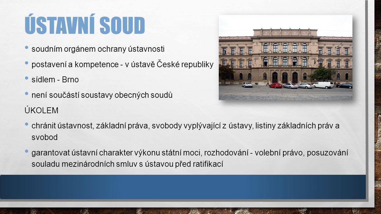 ÚSTAVNÍ SOUD soudním orgánem ochrany ústavnosti postavení a kompetence - v ústavě České republiky sídlem - Brno není součástí soustavy obecných soudů