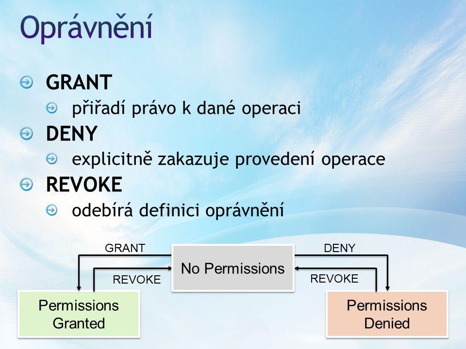 GRANT přiřadí právo k dané operaci DENY explicitně zakazuje provedení operace REVOKE odebírá definici oprávnění Permissions Granted Permissions Granted Permissions Denied Permissions Denied GRANT REVOKE No Permissions DENY REVOKE
