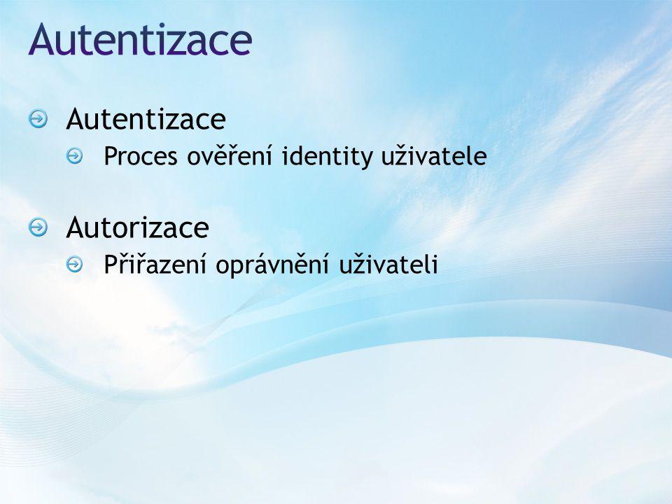 Autentizace Proces ověření identity uživatele Autorizace Přiřazení oprávnění uživateli