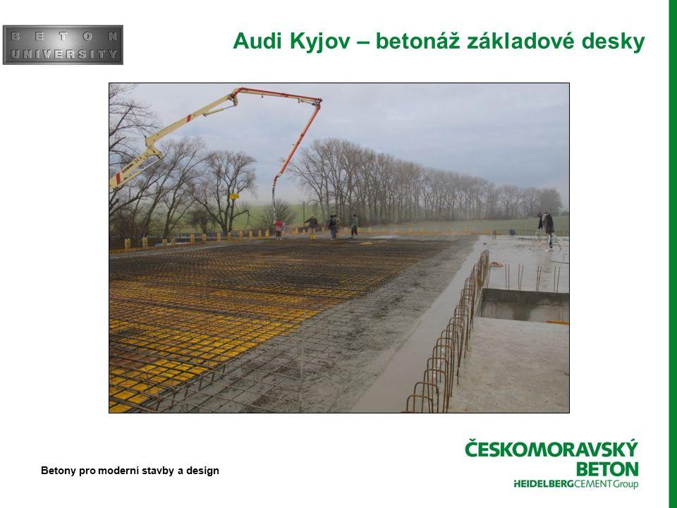 Audi Kyjov – betonáž základové desky Betony pro moderní stavby a design