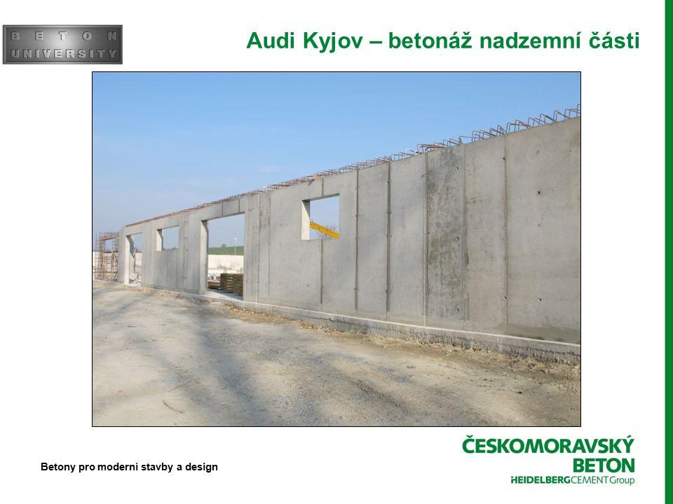 Audi Kyjov – betonáž nadzemní části Betony pro moderní stavby a design