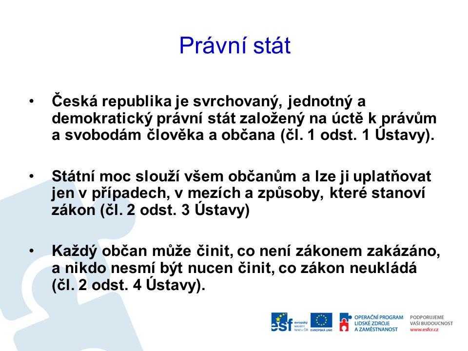 Právní stát Česká republika je svrchovaný, jednotný a demokratický právní stát založený na úctě k právům a svobodám člověka a občana (čl. 1 odst. 1 Ús