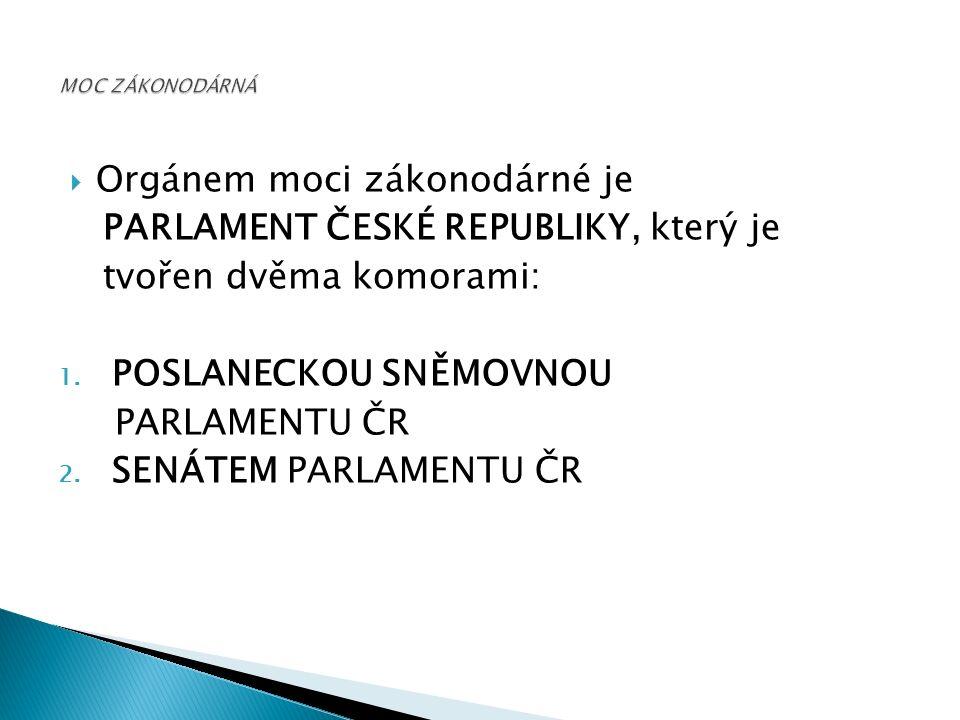  Orgánem moci zákonodárné je PARLAMENT ČESKÉ REPUBLIKY, který je tvořen dvěma komorami: 1.