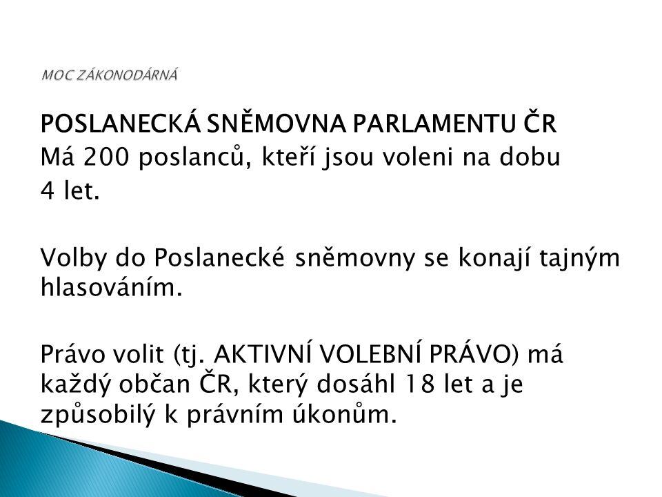 POSLANECKÁ SNĚMOVNA PARLAMENTU ČR Má 200 poslanců, kteří jsou voleni na dobu 4 let.