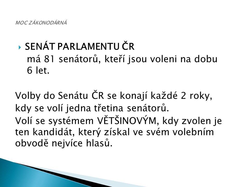  SENÁT PARLAMENTU ČR má 81 senátorů, kteří jsou voleni na dobu 6 let.
